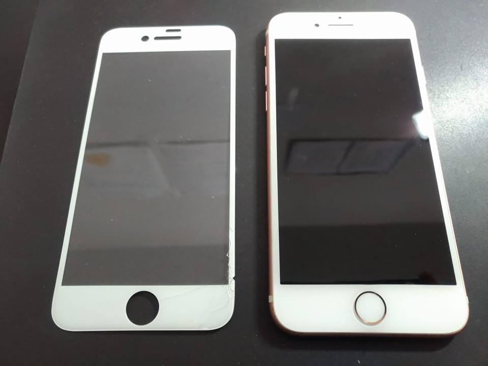 iPhone7 ガラスフィルム損傷